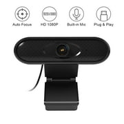 USB Computer Webcam HD 1080P Camera Built-in Noise Reduction Microphone with Clip-on Base for PC Laptop Desktop Video Calling Recording Home Office Conferencing Live Streaming Online Teaching