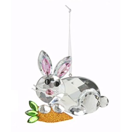 Decorative Clear Bunny With Carrot Easter Ornament - By Ganz - Bunny Ornaments