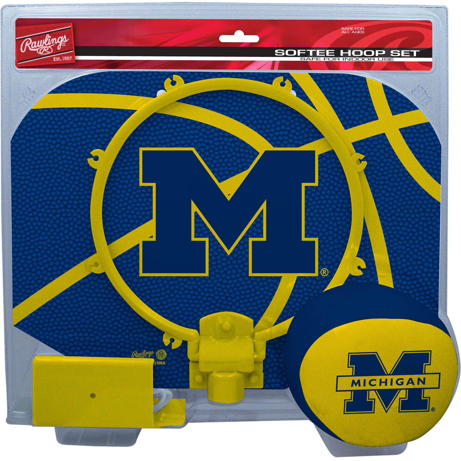 Rawlings NCAA Slam Dunk Softee Hoop Set University Of Michigan Wolverines