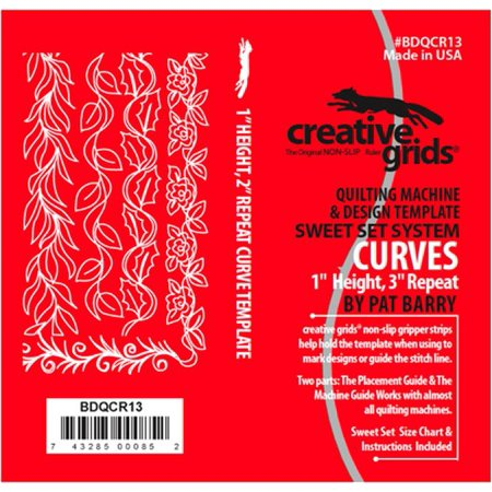 (Creative Grids Sweet Set Curves - Border Curve 1-Inch Height 3-Inch Repeat - Longarm Quilting Templates (BDQCR13))