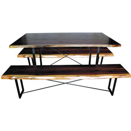 Furniture Barn USA® Walnut Dining Set with Rochester Base - Table and 2 Benches - 6 ft. Length ()