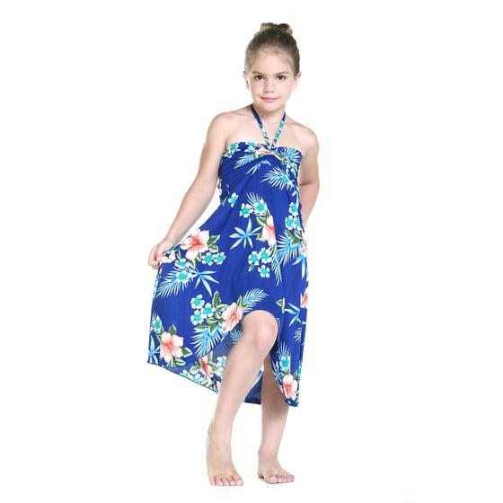8e3e17d6fec2 Hawaii Hangover - Girl Hawaiian Butterfly Dress in Hibiscus Blue Size 8 -  Walmart.com
