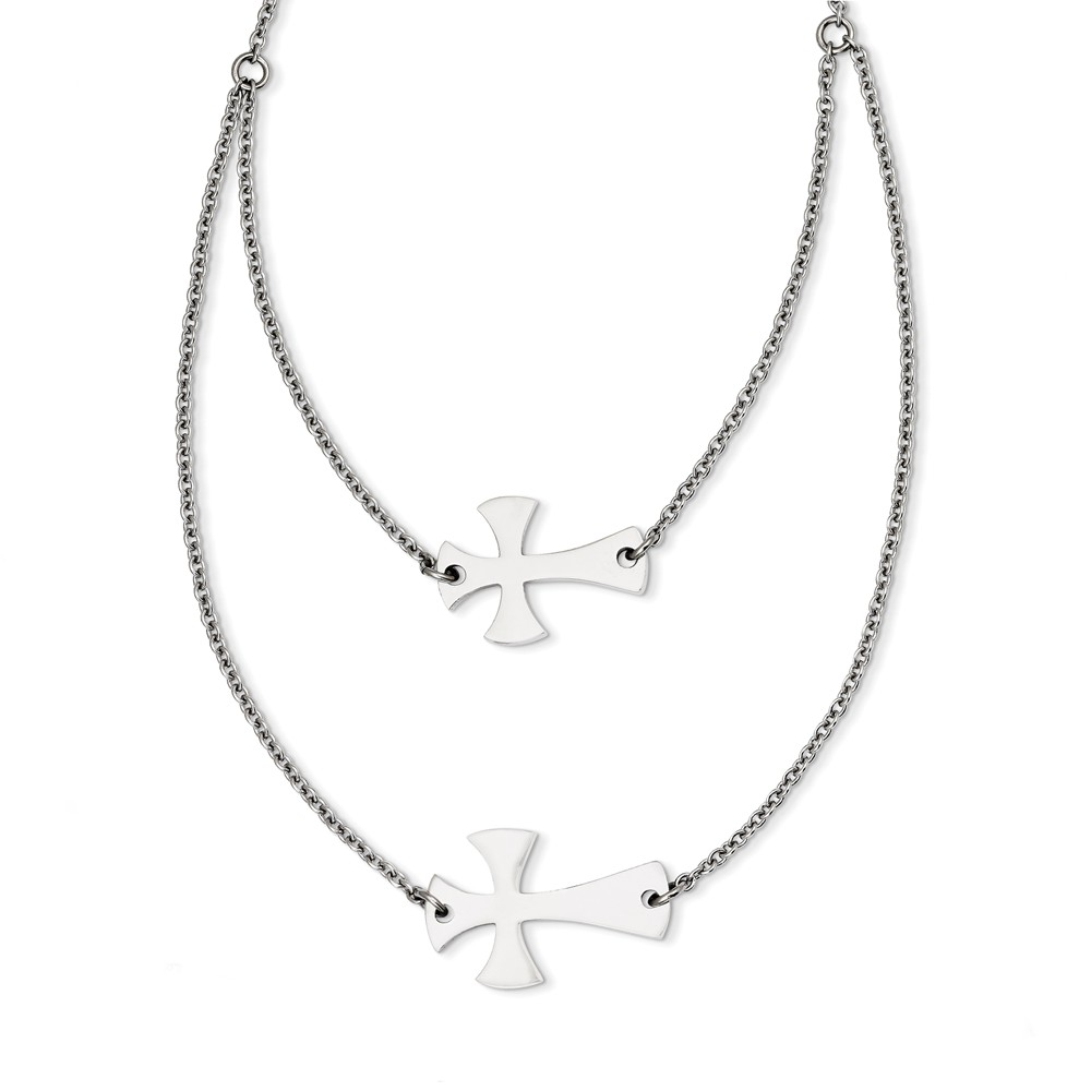 Stainless Steel 16.75in Double Sideways Cross Layered Necklace
