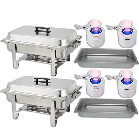 Chafing Dish Set — Water Pan + Food Pan (8 qt) + Frame + 2 Fuel Holders - Stainless-Steel Warmer Kit 2 Pack - Chaffing Pans