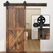 WINSOON 4FT Single Wood Sliding Barn Door Hardware Black Finish Big Spoke Roller Style Kit