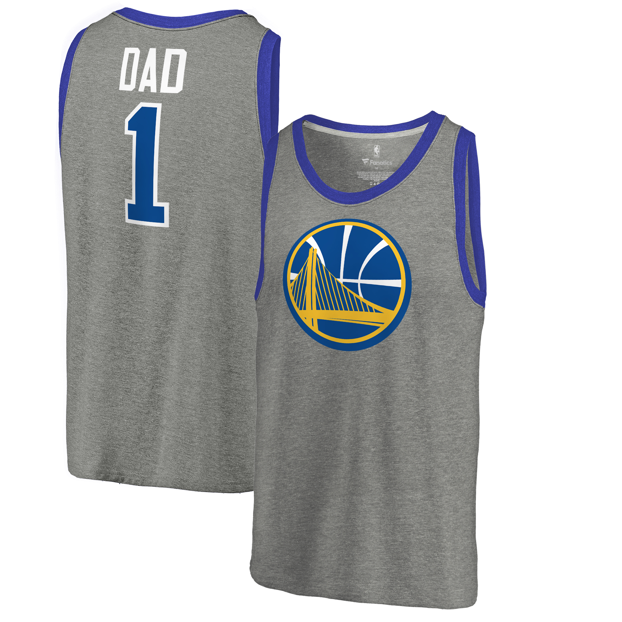 Golden State Warriors Fanatics Branded #1 Dad Tri-Blend Tank Top - Ash