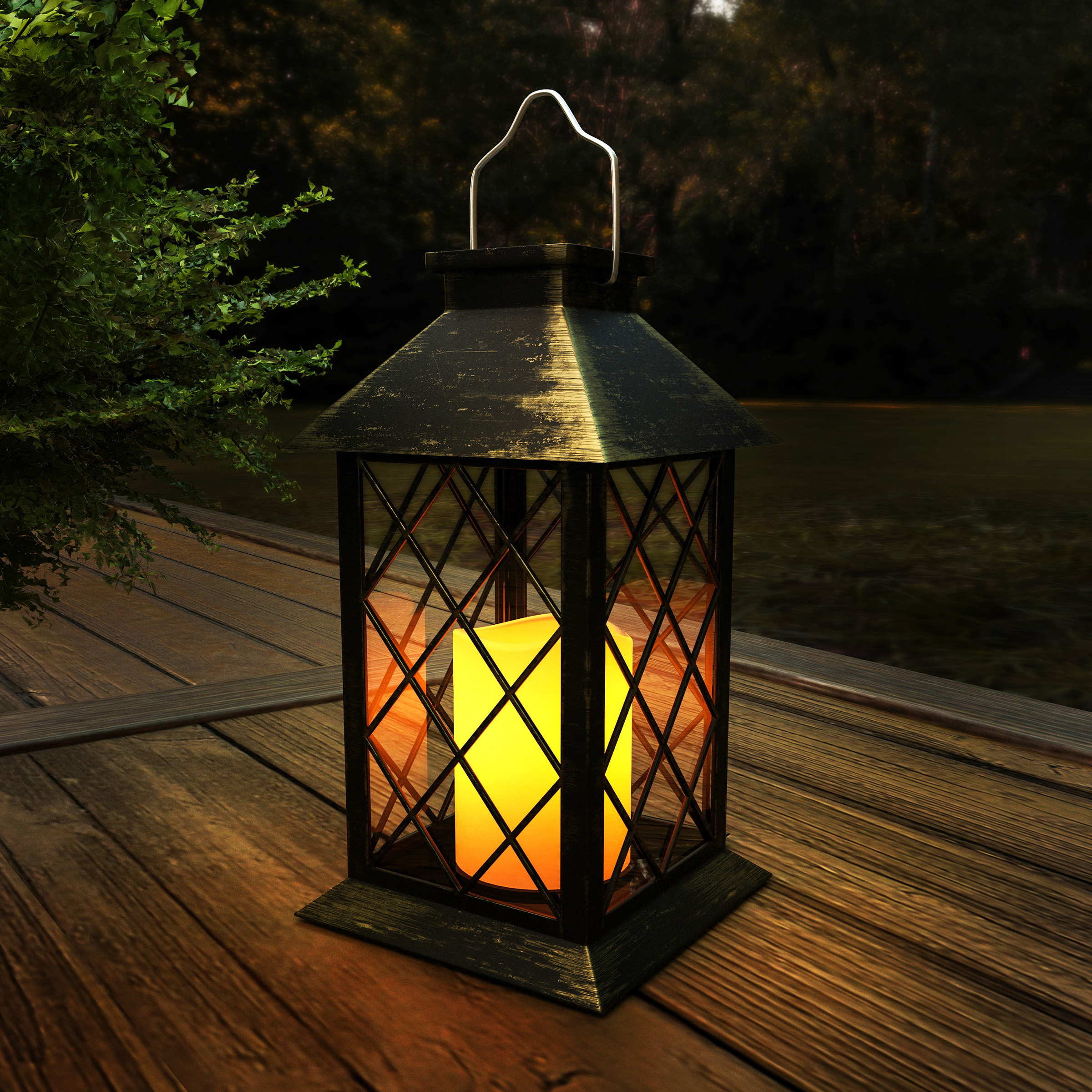 Solar Powered Lantern- Hanging or Tabletop Water Resistant LED Pillar Candle Lamp for Indoors or Outdoors-Classic Home and Garden Decor by Lavish Home