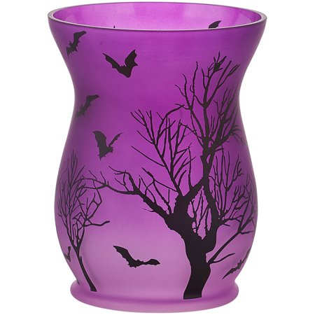 Pavilion - Purple Halloween Themed Large Glass Jar Candle Hurricane