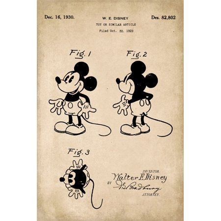 Mickey Mouse Disney Patent Art Print