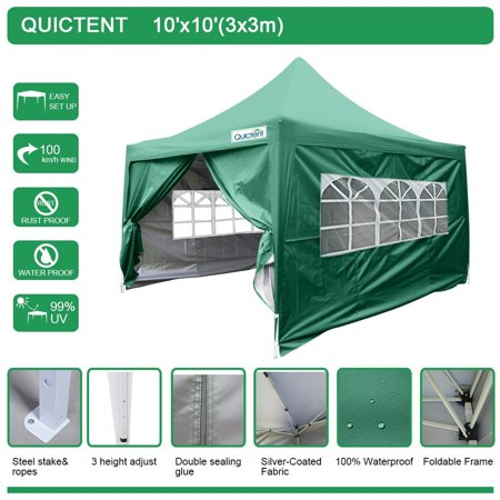 Canopy Green (Quictent Silvox 10' x 10' EZ Pop Up Canopy Portable Waterproof Gazebo Pyramid Roof Green )