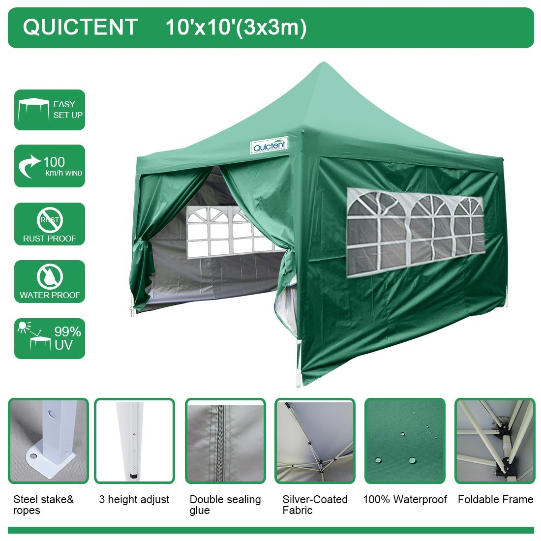 Quictent Silvox 10u0027 x 10u0027 EZ Pop Up Canopy Portable Waterproof Gazebo Pyramid Roof  sc 1 st  Walmart : portable pop up canopy - memphite.com