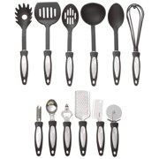 Maxam® 12pc Kitchen Tool Set, Plastic and Metal, Includes Spoons, Whisk, Pasta Fork, Spatula, Bottle Opener, and More