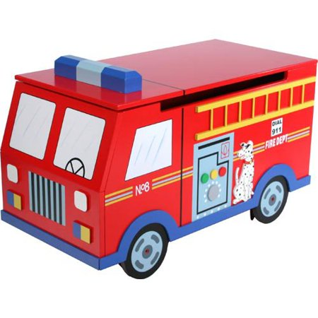 Teamson Kid's Trains and Trucks Fire Engine Toy Box
