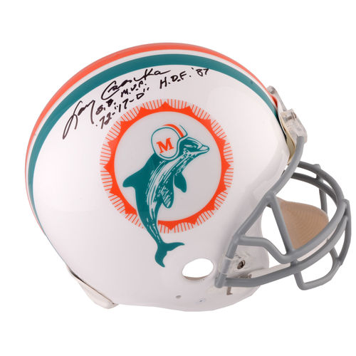 Larry Csonka Miami Dolphins Autographed Riddell Throwback Pro Line Helmet with Multiple Inscriptions