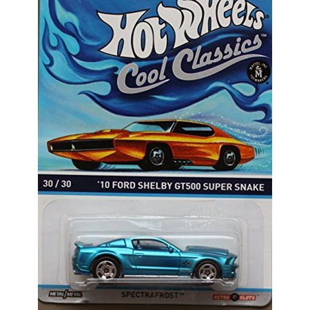 HOT WHEELS COOL CLASSICS BLUE '10 FORD SHELBY GT500 SUPER SNAKE WITH PICTURE OF ORANGE CAR ON PACKAGE, DIE-CAST BODY WITH DIE-CAST CHASSIS By (Ford Shelby Gt500 Super Snake For Sale)