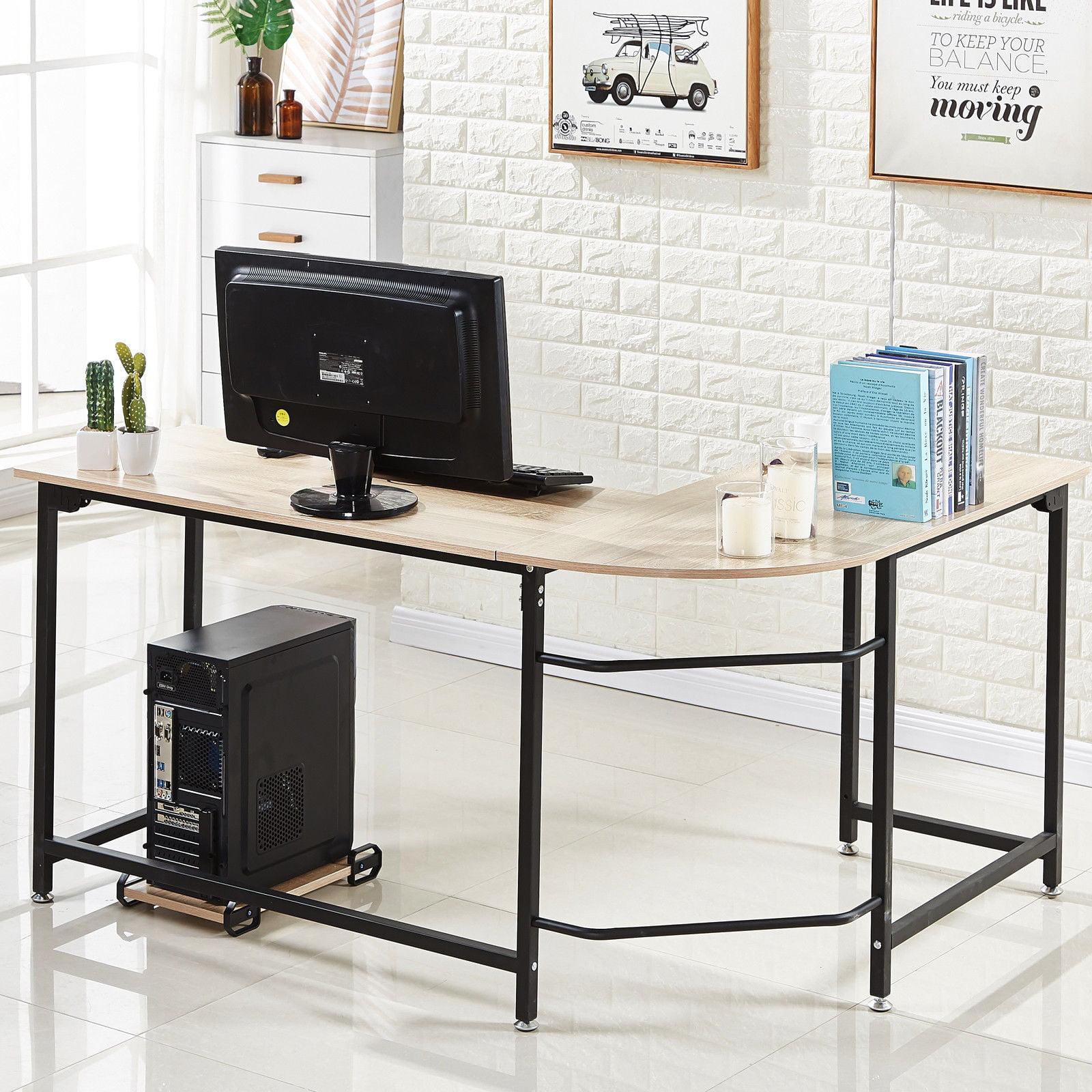 Superb L Shaped Corner Computer Desk Workstation Home Office Wood Metal Large Size Black Home Interior And Landscaping Palasignezvosmurscom