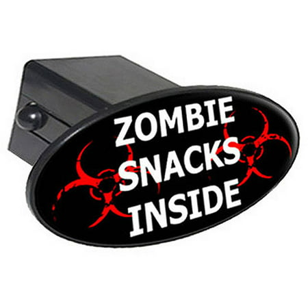 "Zombie Snacks Inside, Radiation 2"" Oval Tow Trailer Hitch Cover Plug Insert"