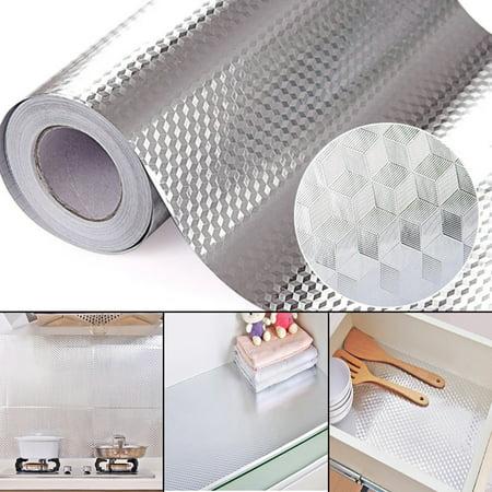 0.5 Aluminum Adhesive (40X100CM Aluminum Foil Self Adhesive Waterproof Wallpaper DIY Home Kitchen Furniture Decorate)