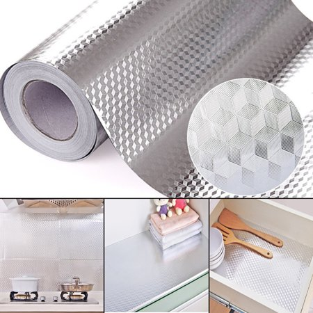 40x100cm Aluminum Foil Self Adhesive Waterproof Wallpaper Diy Home Kitchen Furniture Decorate