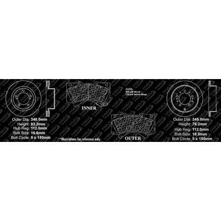 Max Brakes Front & Rear Elite E-Coated XDS Rotors and Metallic Pads Brake Kit | TA146783-5 - image 3 de 8