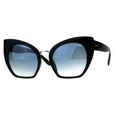 Womens Oversize Cat Eye Butterfly Gradient Lens Plastic Sunglasses Black Blue ()