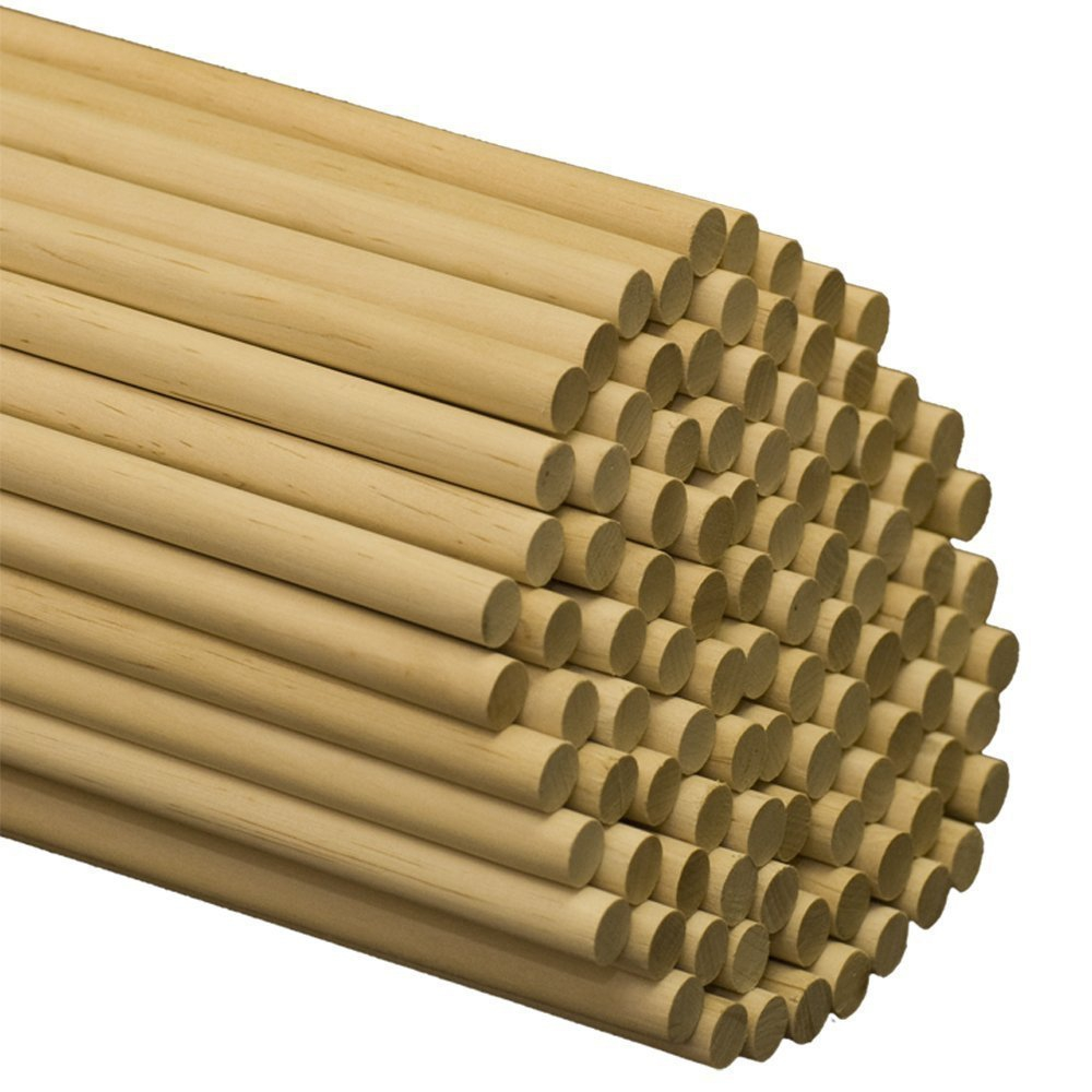 Woodpeckers 1/2 Inch x 12 Inch Wooden Dowel Rods - Unfinished Hardwood Dowels For Crafts & Woodworking (100)