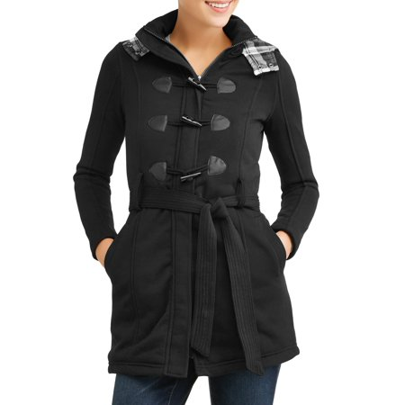 women's sherpa lined toggle fleece jacket with removeable plaid lined -