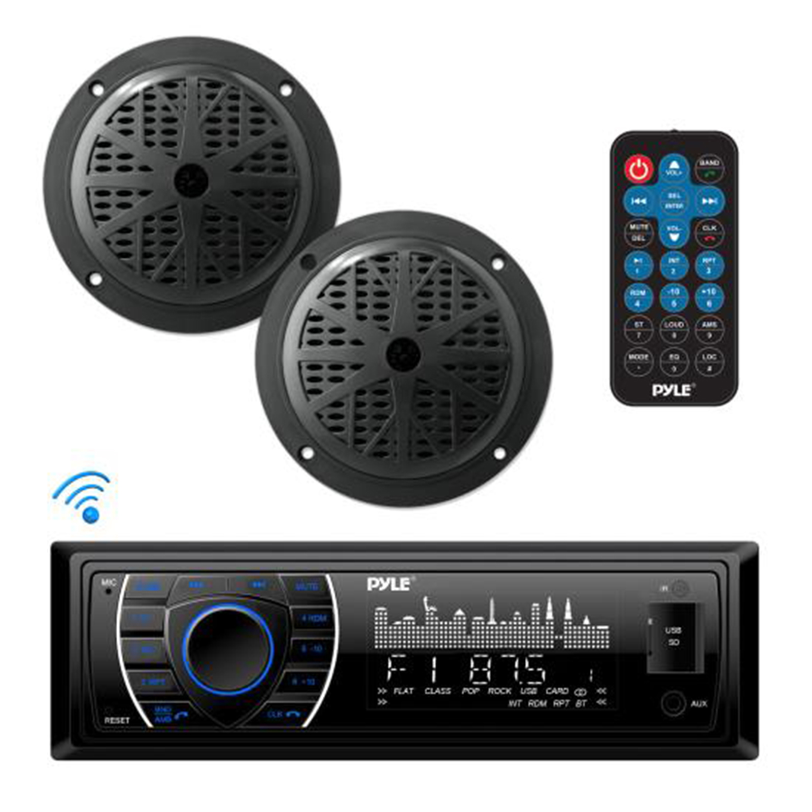 Car Audio BT Marine Receiver Stereo  Speaker Kit, Hands-Free Calling, Streaming, MP3/USB/SD Readers, AM/FM Radio, (2) 5.25