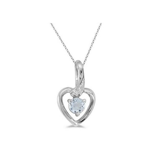 Seven Seas Jewelers Aquamarine and Diamond Heart Pendant Necklace 14k White Gold by Brand New