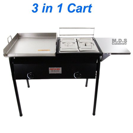 Taco Cart w/ Griddle 18x16 Stainless Steel Double Deep Fryer 2 Deep Trays 3 in
