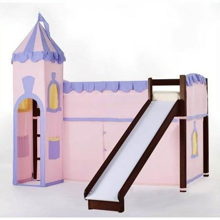Loft Bed Slide - Hillsdale School House Junior Loft Bed With Slide And Castle Tent, Cherry