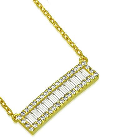 925 Sterling Silver White Clear Baguette-Shape CZ Sideways Bar Pendant Necklace, 18