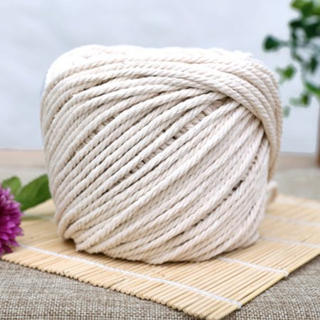 Long 4mm Rope (Twisted 100% Natural Cotton Rope White Cotton Rope Handmade Art Material DIY Woven Rope 3 diameter 2mm 3mm 4mm 5mm 0.06