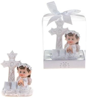DDI 1774630 Baby Angel in White Praying Next to Cross Poly Resin - Pink Case of 48