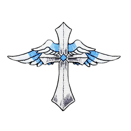 Cross - Blue Angel Wings - Iron on Embroidered Applique (Embroidered Wings)