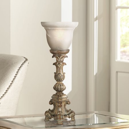 "Regency Hill French LED Uplight Desk Table Lamp 18"" High Beige Wash Candlestick Alabaster Glass Shade for Bedroom Bedside Office"