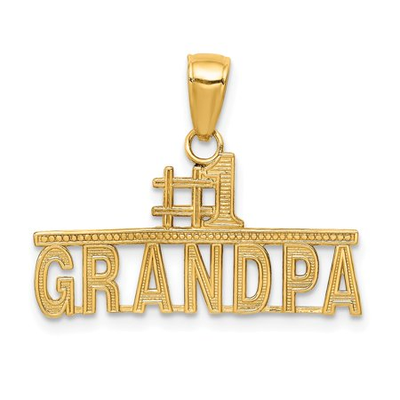 14K Yellow Gold #1 Grandpa Pendant 18mm x 24mm