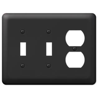 Black Metal Double Toggle Switch Duplex Outlet Wall Plate Cover Combo Enamel