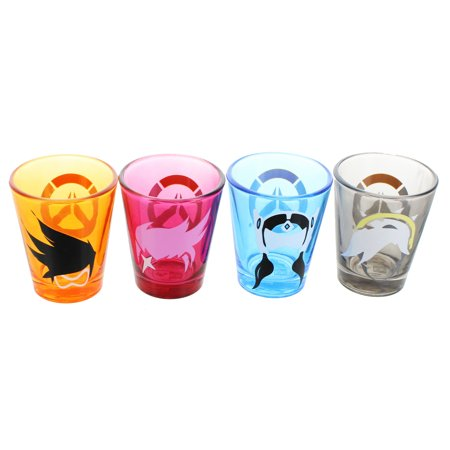 Overwatch Character Shot Glass 4-Pack, Color: Tracer, D.Va, Mercy, and (Video Game Glasses)