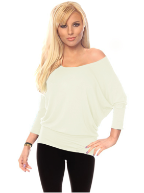 db89c9bc47 Product Image Womens Jersey Off the Shoulder Sweater Top Round Scoop Neck