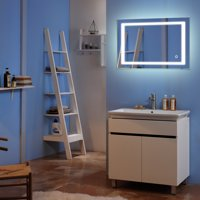 Zimtown Touch LED Bathroom Mirror Rectangle Light Strip Lighted Mirror 32x24 Silver
