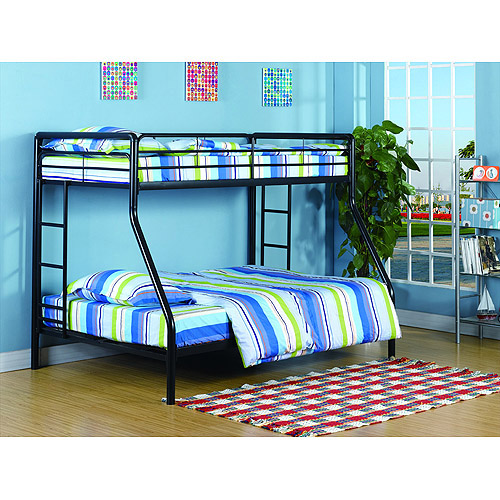 Dorel Twin over Full Metal Black Bunk Bed with Set of  2 Mattresses
