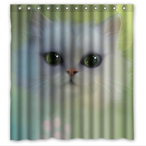 HelloDecor Fresh White Cat Shower Curtain Polyester Fabric Bathroom Decorative Curtain Size 66x72 Inches
