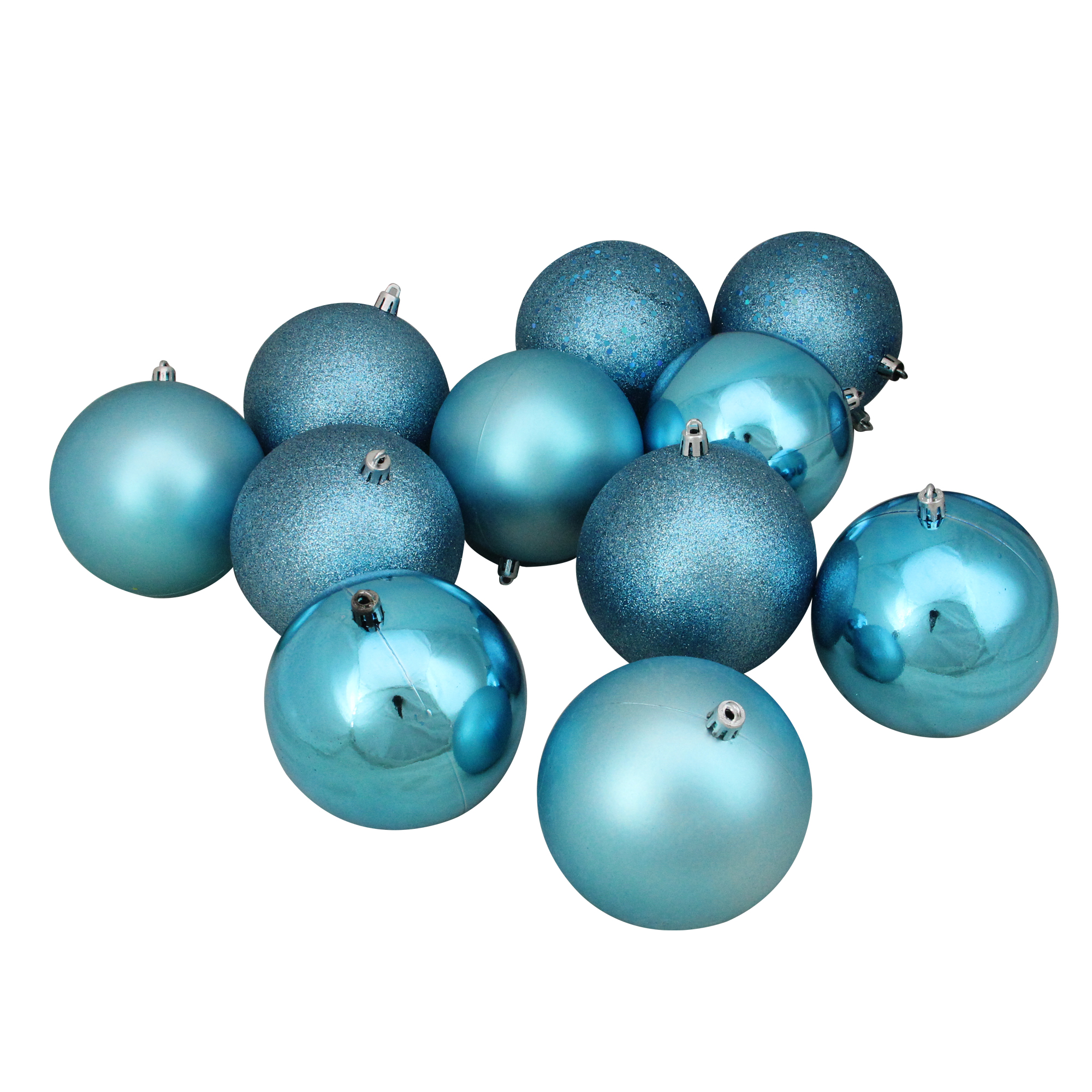 """12ct Turquoise Blue Shatterproof 4-Finish Christmas Ball Ornaments 4"""" (100mm)"""