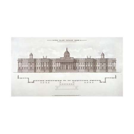 National Gallery, Trafalgar Square, Westminster, London, C1838 Print Wall Art ()