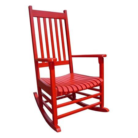 Red Cedar Adirondack Rocking Chair - International Concepts Porch Rocker, Solid Wood, Red