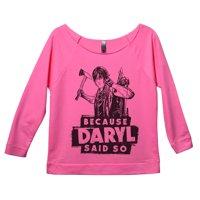 "Womens The Walking Dead 3/4 Sleeve ""Because Daryl Said So"" Daryl Dixon Sweat Shirt X-Large, Pink"