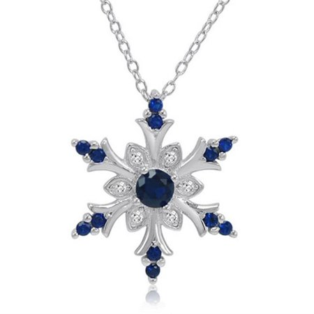 Amanda Rose Collection Created Blue & White Sapphire Snowflake Pendant in Sterling Silver, 0.5 - Ananda Collection