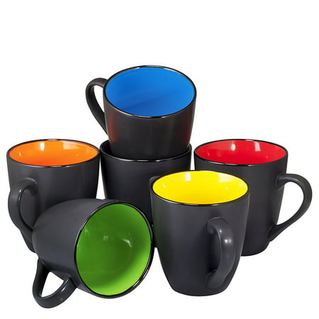 Coffee Mug Set Of 6 Large Sized 16 Ounce Ceramic Mugs Restaurant