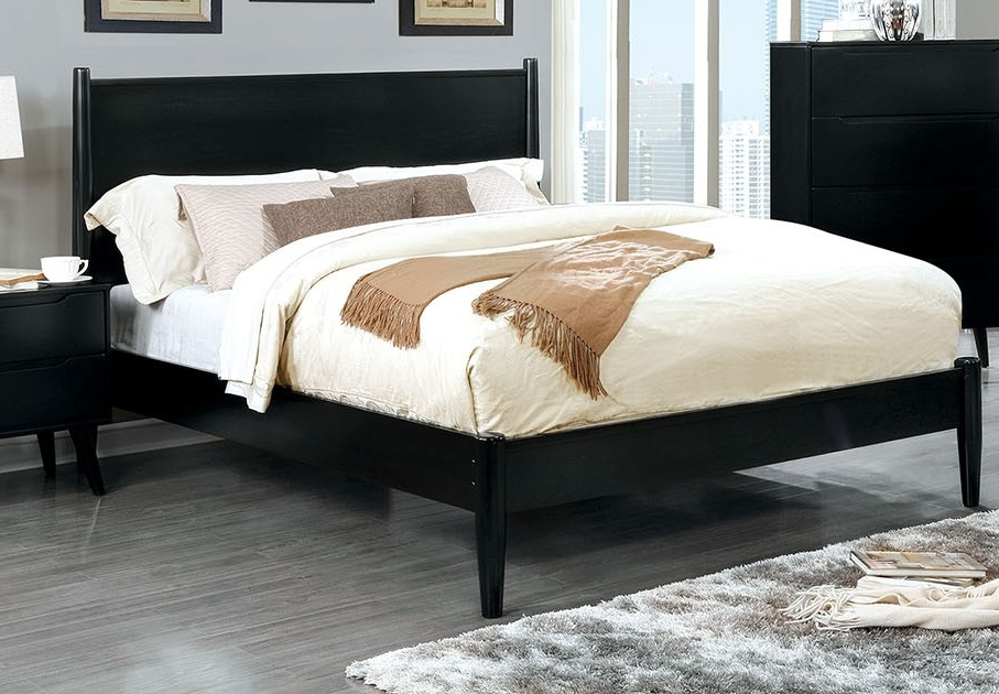 California King Size Bed Modern Mid-Century Black Color ...